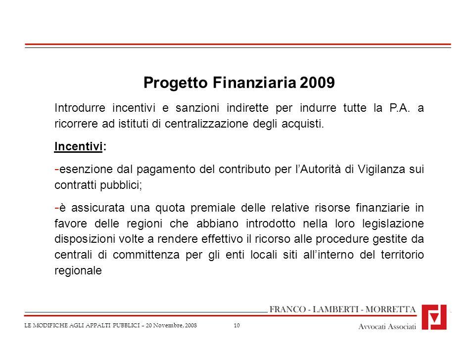 Progetto Finanziaria 2009