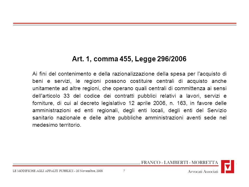 Art. 1, comma 455, Legge 296/2006