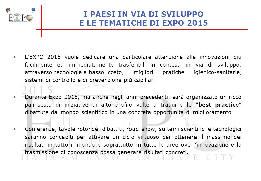 I PAESI IN VIA DI SVILUPPO E LE TEMATICHE DI EXPO 2015