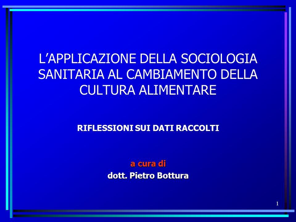 RIFLESSIONI SUI DATI RACCOLTI a cura di dott. Pietro Bottura