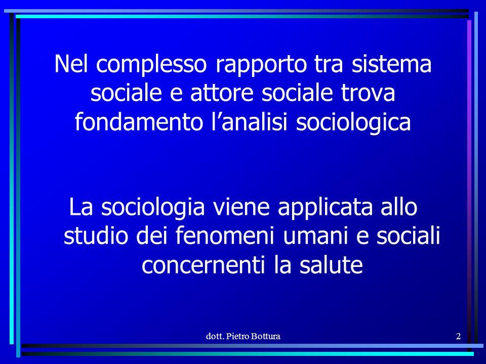 Nel complesso rapporto tra sistema sociale e attore sociale trova fondamento l'analisi sociologica