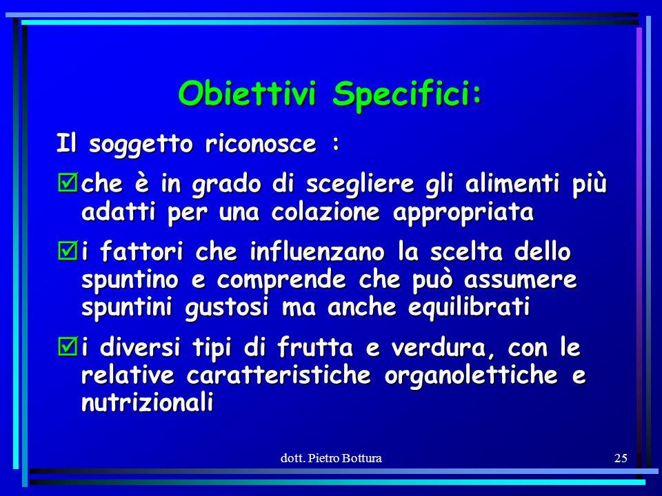 Obiettivi Specifici: Il soggetto riconosce :