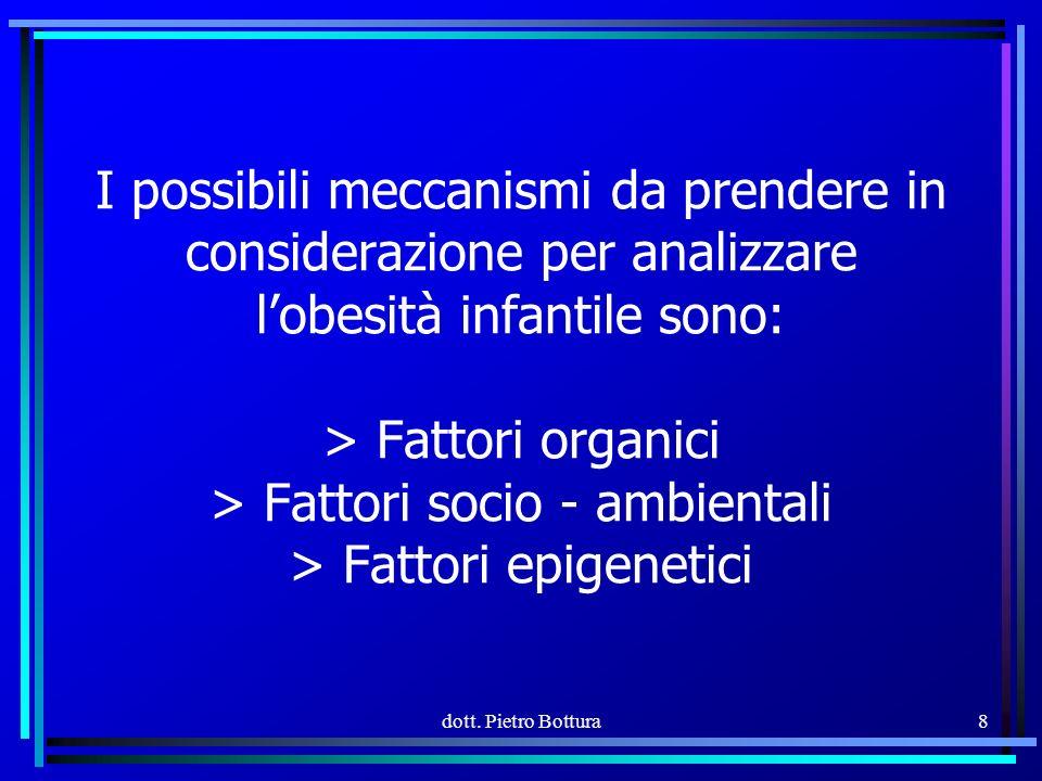 I possibili meccanismi da prendere in considerazione per analizzare l'obesità infantile sono: > Fattori organici > Fattori socio - ambientali > Fattori epigenetici