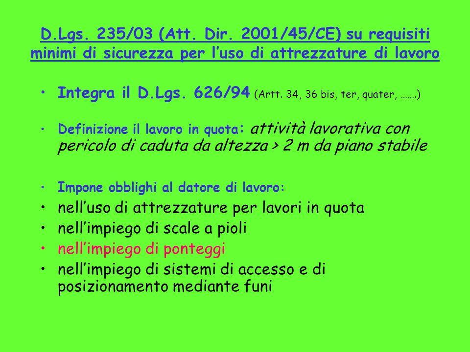 Integra il D.Lgs. 626/94 (Artt. 34, 36 bis, ter, quater, …….)