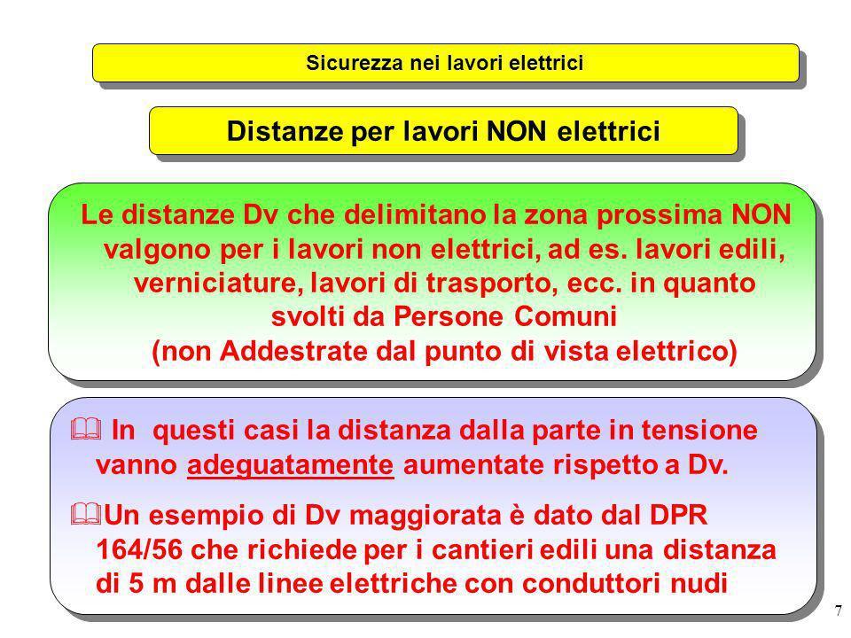 Sicurezza nei lavori elettrici Distanze per lavori NON elettrici