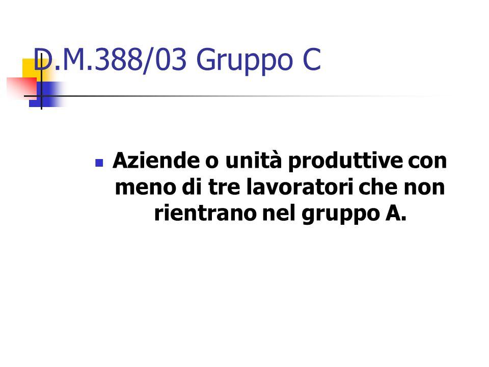 D.M.388/03 Gruppo C Aziende o unità produttive con meno di tre lavoratori che non rientrano nel gruppo A.