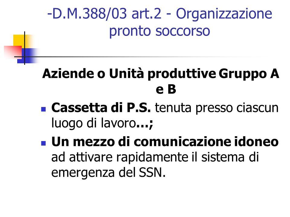 -D.M.388/03 art.2 - Organizzazione pronto soccorso