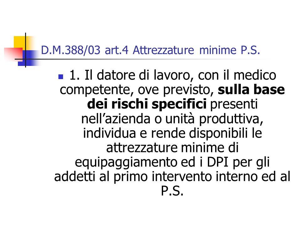 D.M.388/03 art.4 Attrezzature minime P.S.