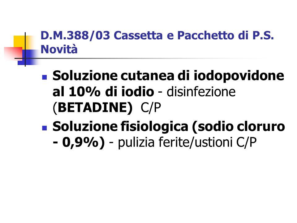 D.M.388/03 Cassetta e Pacchetto di P.S. Novità
