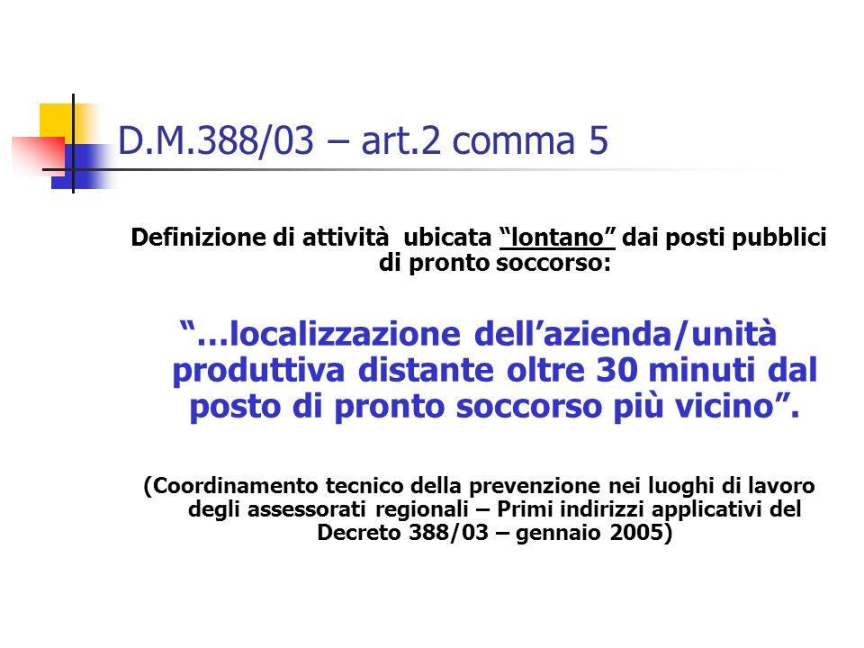 D.M.388/03 – art.2 comma 5 Definizione di attività ubicata lontano dai posti pubblici di pronto soccorso: