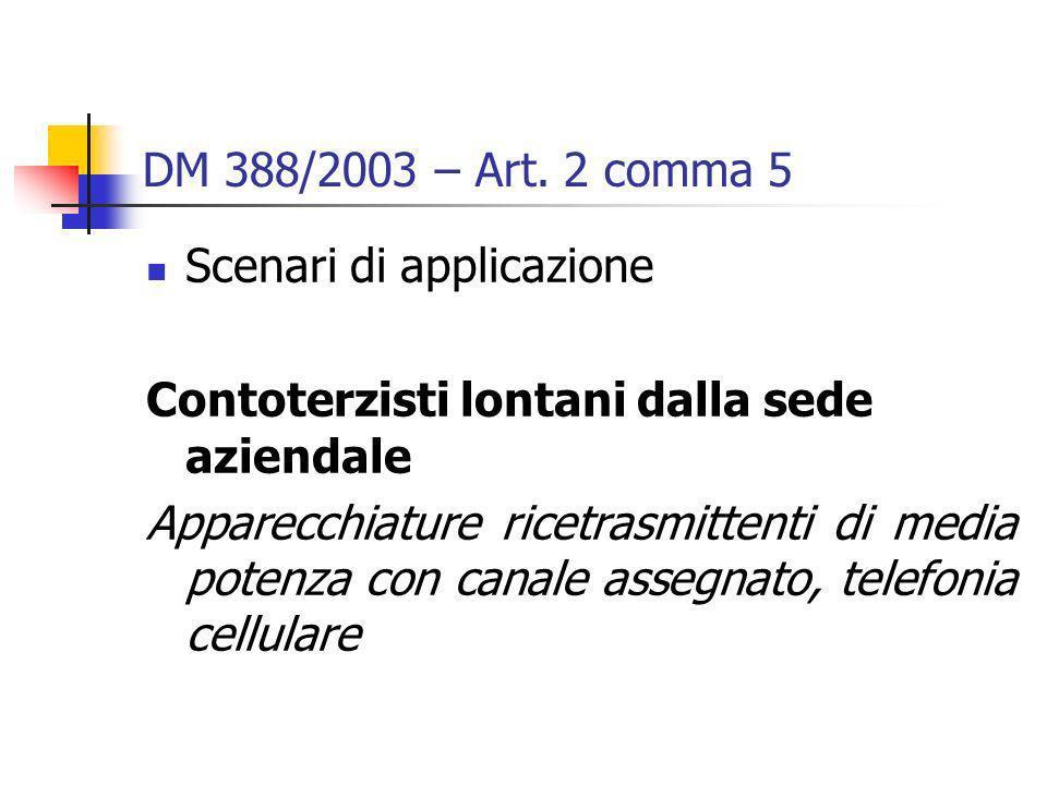 DM 388/2003 – Art. 2 comma 5 Scenari di applicazione. Contoterzisti lontani dalla sede aziendale.