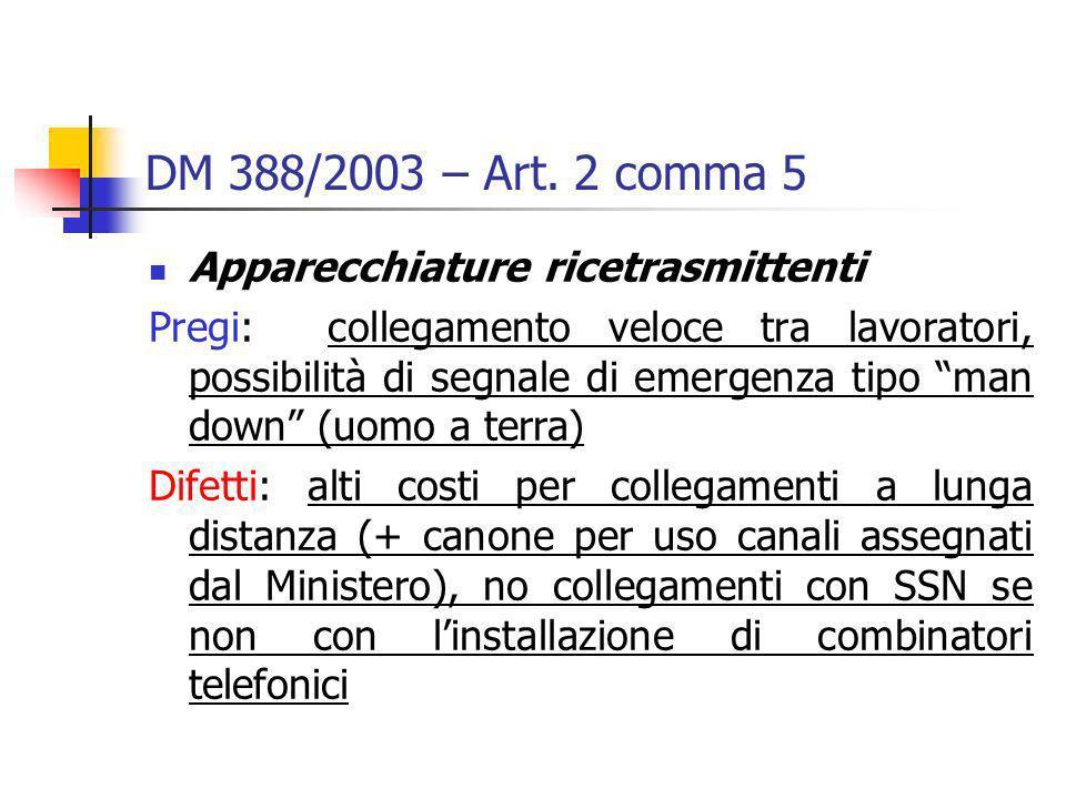 DM 388/2003 – Art. 2 comma 5 Apparecchiature ricetrasmittenti