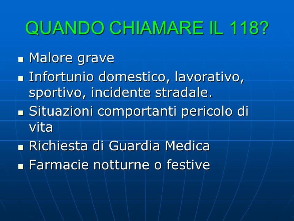 QUANDO CHIAMARE IL 118 Malore grave