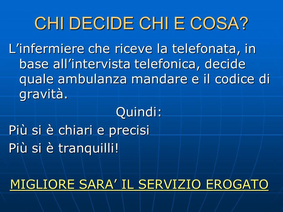 MIGLIORE SARA' IL SERVIZIO EROGATO