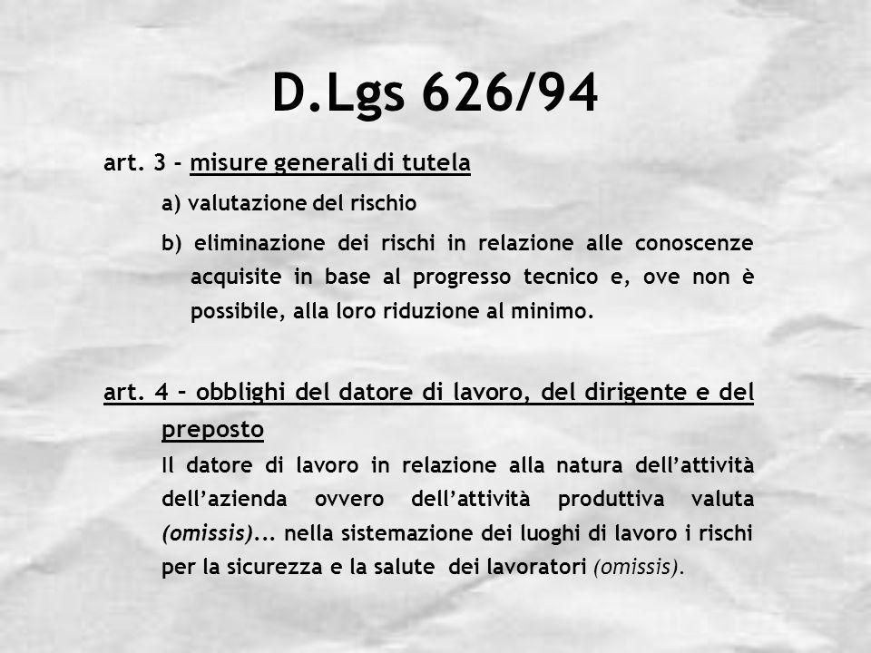 D.Lgs 626/94 art. 3 - misure generali di tutela