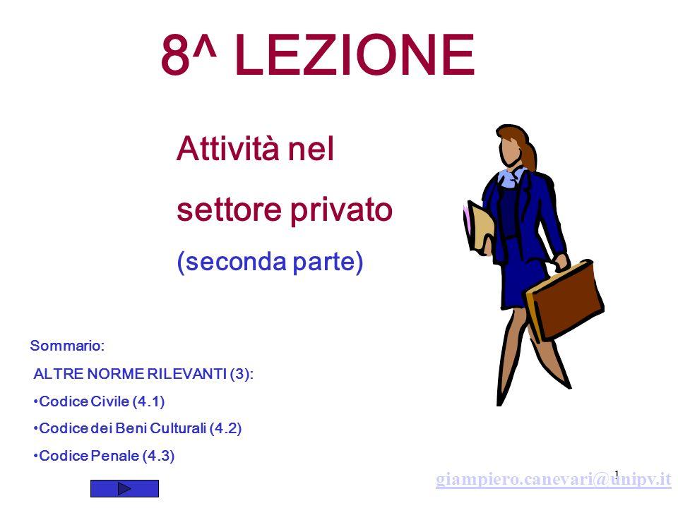 8^ LEZIONE Attività nel settore privato (seconda parte)