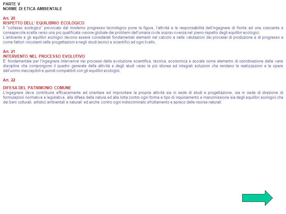 PARTE VNORME DI ETICA AMBIENTALE. Art. 20. RISPETTO DELL' EQUILIBRIO ECOLOGICO.