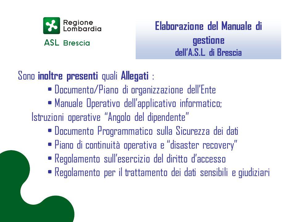 Elaborazione del Manuale di gestione dell'A.S.L. di Brescia