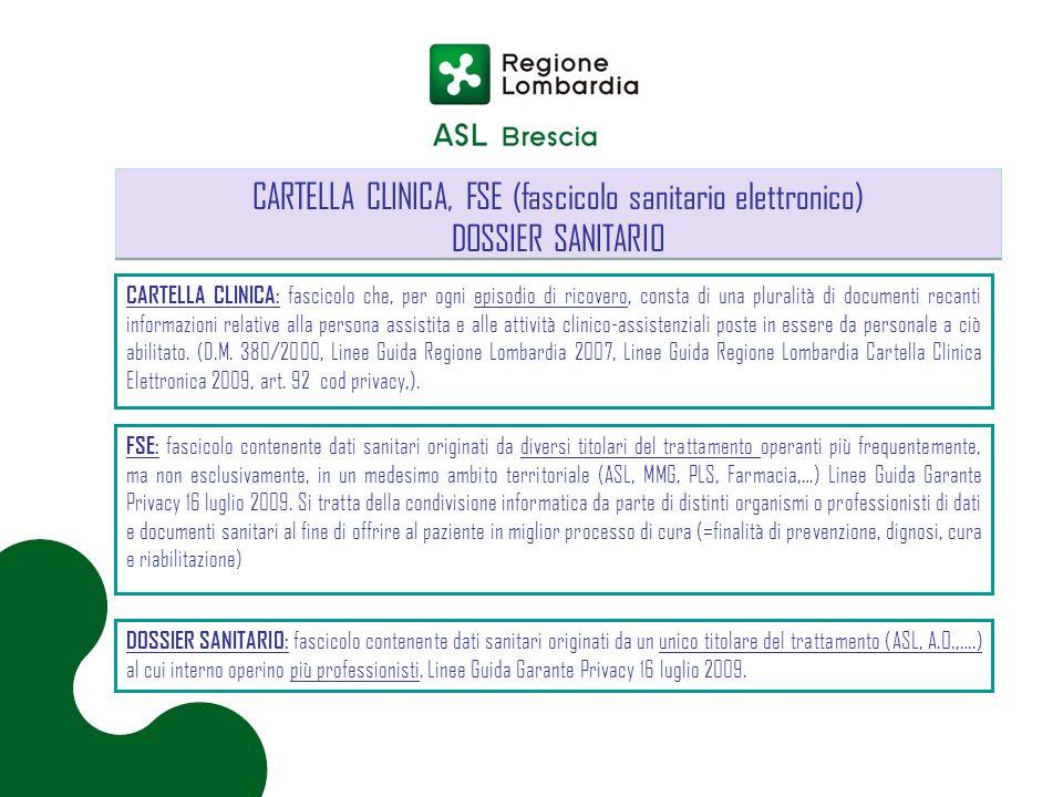 CARTELLA CLINICA, FSE (fascicolo sanitario elettronico)