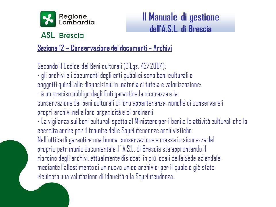 Il Manuale di gestione dell'A.S.L. di Brescia