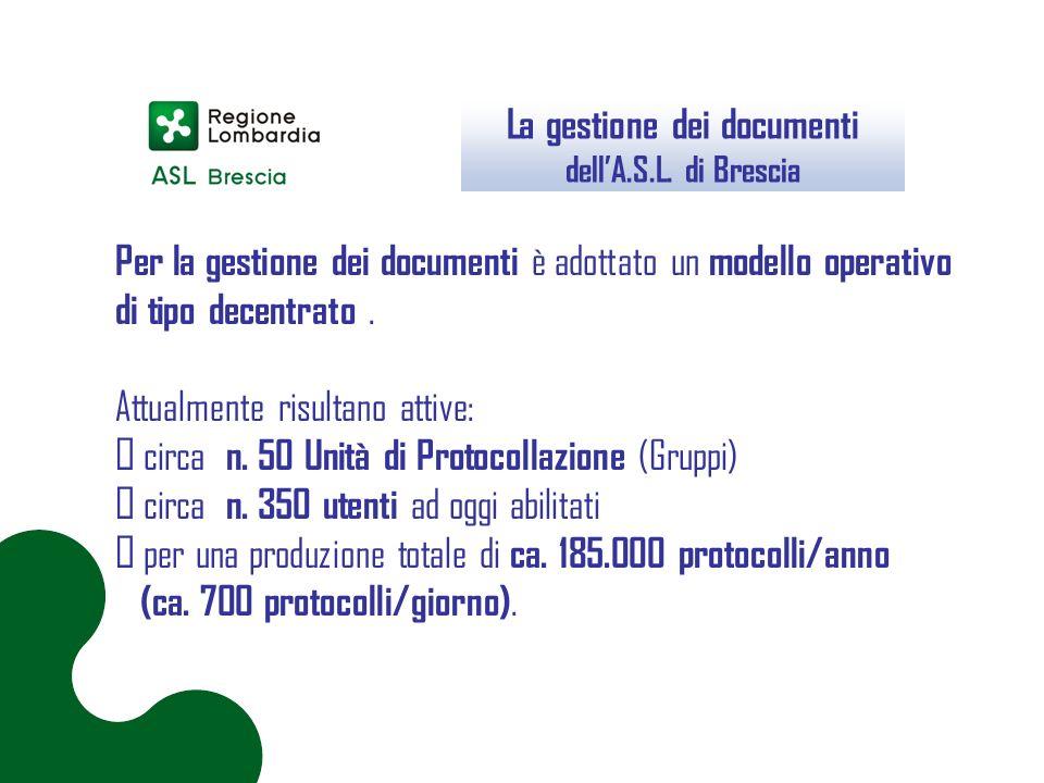 La gestione dei documenti dell'A.S.L. di Brescia