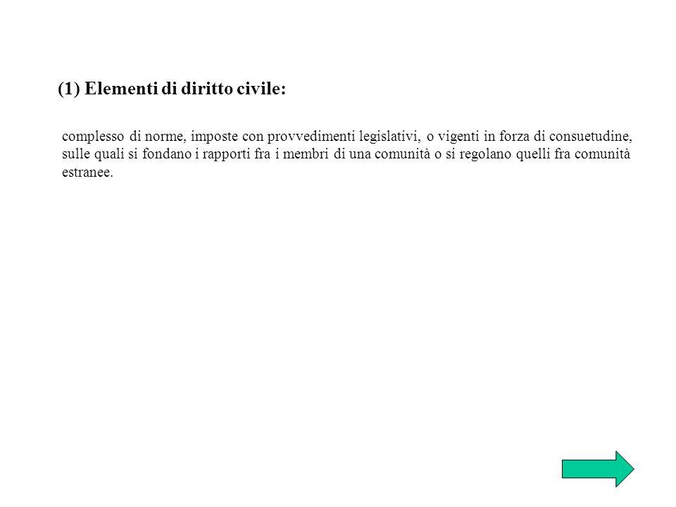 (1) Elementi di diritto civile:
