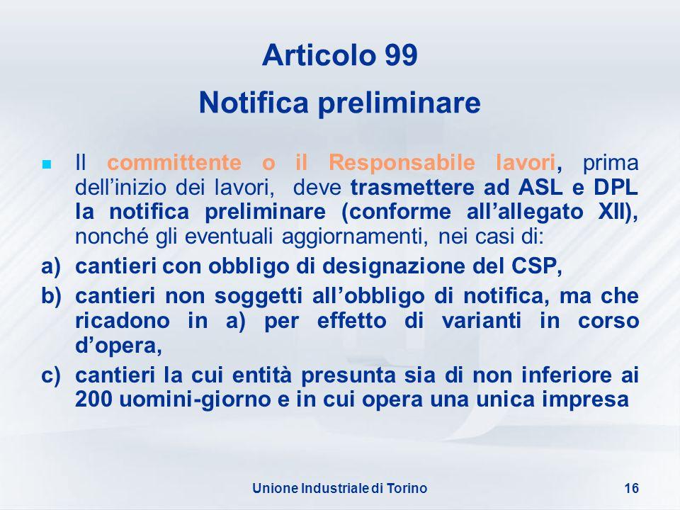 Articolo 99 Notifica preliminare
