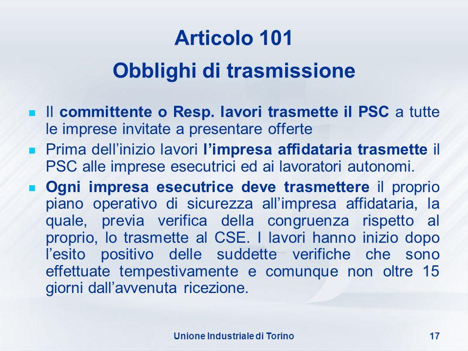 Articolo 101 Obblighi di trasmissione