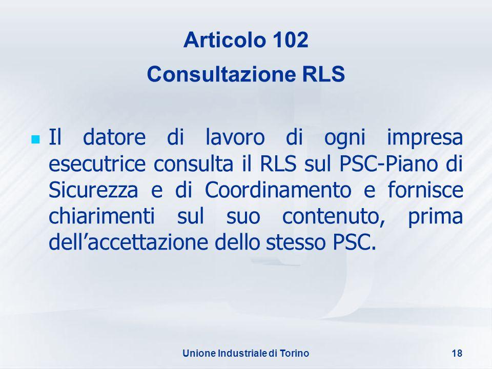 Articolo 102 Consultazione RLS