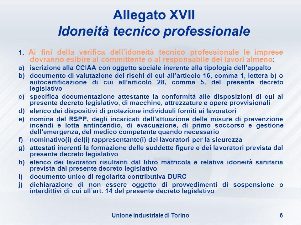 Idoneità tecnico professionale Unione Industriale di Torino