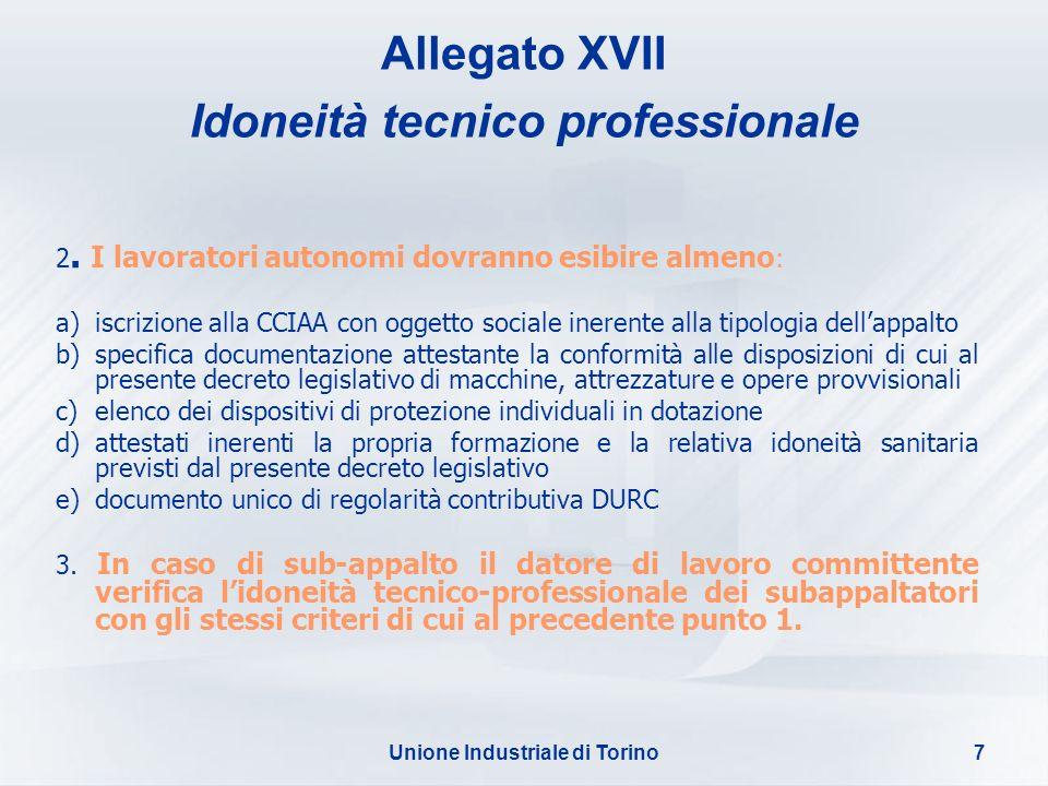 Allegato XVII Idoneità tecnico professionale