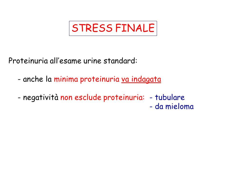 STRESS FINALE Proteinuria all'esame urine standard: