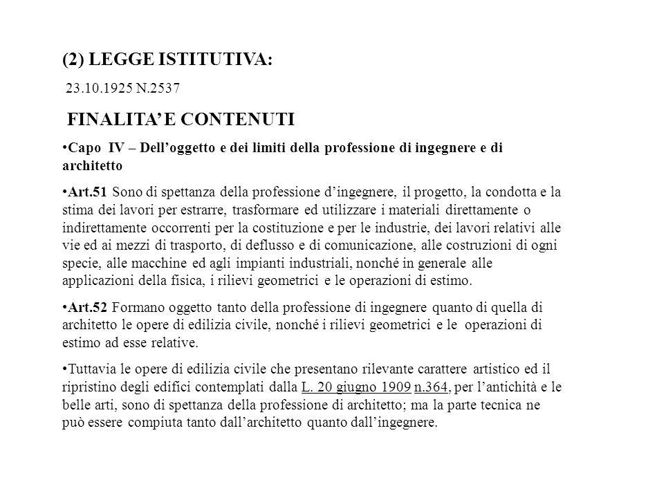 (2) LEGGE ISTITUTIVA: FINALITA' E CONTENUTI 23.10.1925 N.2537