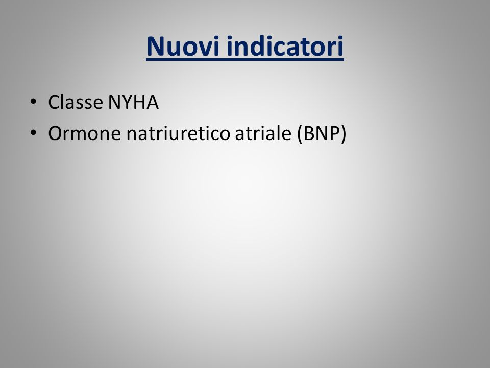 Nuovi indicatori Classe NYHA Ormone natriuretico atriale (BNP)