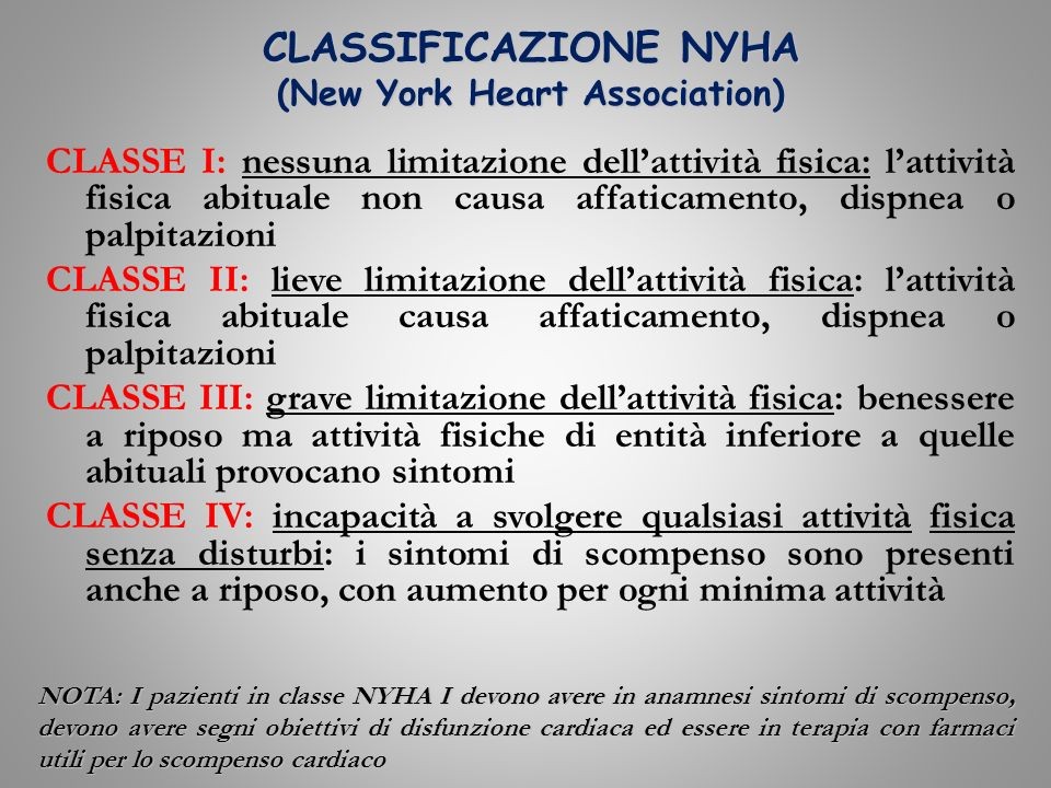 CLASSIFICAZIONE NYHA (New York Heart Association)