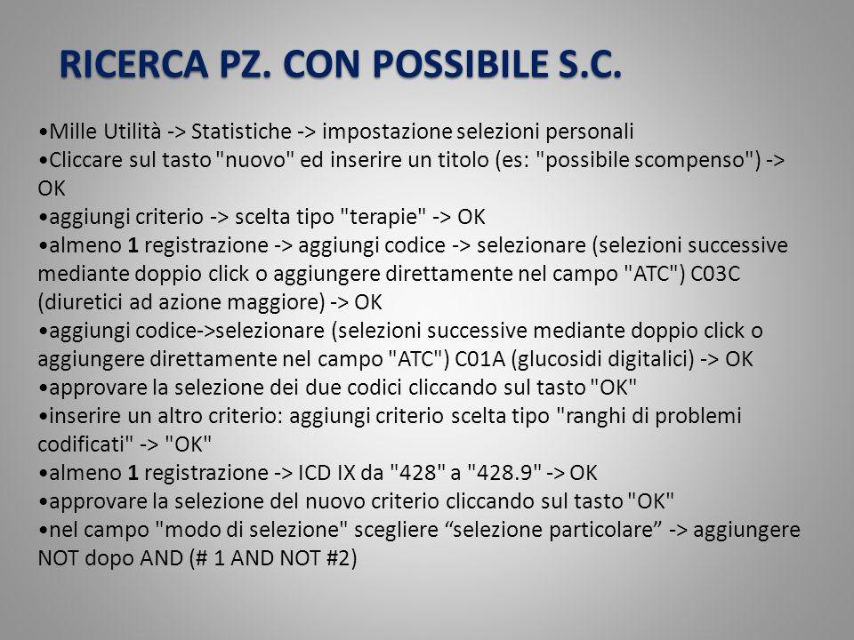 RICERCA PZ. CON POSSIBILE S.C.