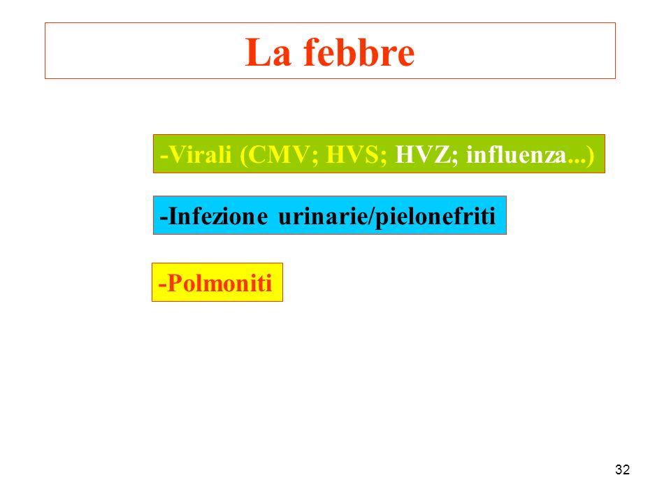 La febbre -Virali (CMV; HVS; HVZ; influenza...)