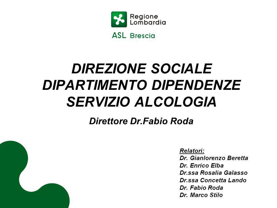 DIPARTIMENTO DIPENDENZE Direttore Dr.Fabio Roda