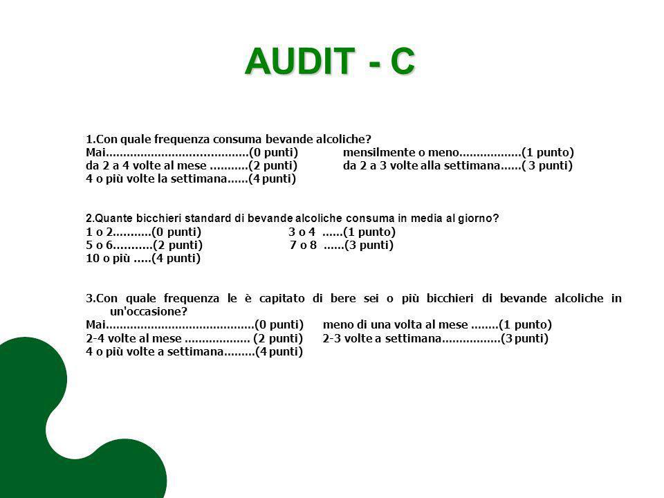 AUDIT - C 1.Con quale frequenza consuma bevande alcoliche