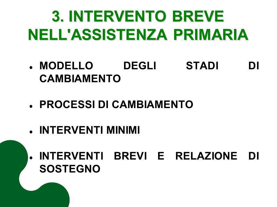 3. INTERVENTO BREVE NELL ASSISTENZA PRIMARIA