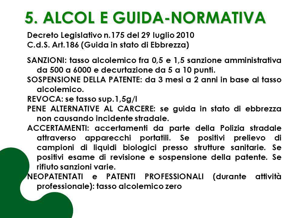 5. ALCOL E GUIDA-NORMATIVA