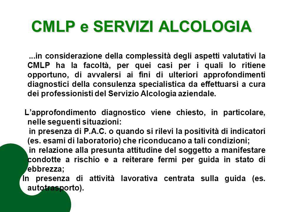CMLP e SERVIZI ALCOLOGIA