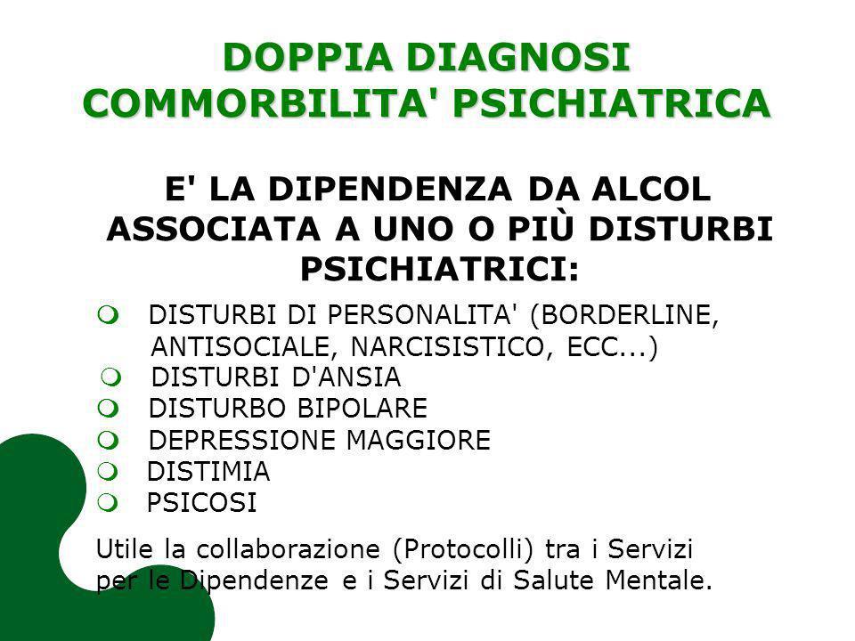 DOPPIA DIAGNOSI COMMORBILITA PSICHIATRICA