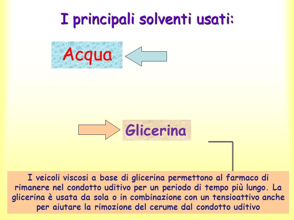 I principali solventi usati: