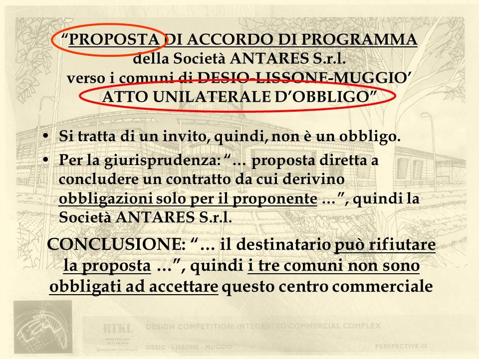PROPOSTA DI ACCORDO DI PROGRAMMA della Società ANTARES S. r. l