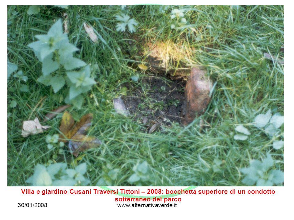 Villa e giardino Cusani Traversi Tittoni – 2008: bocchetta superiore di un condotto sotterraneo del parco