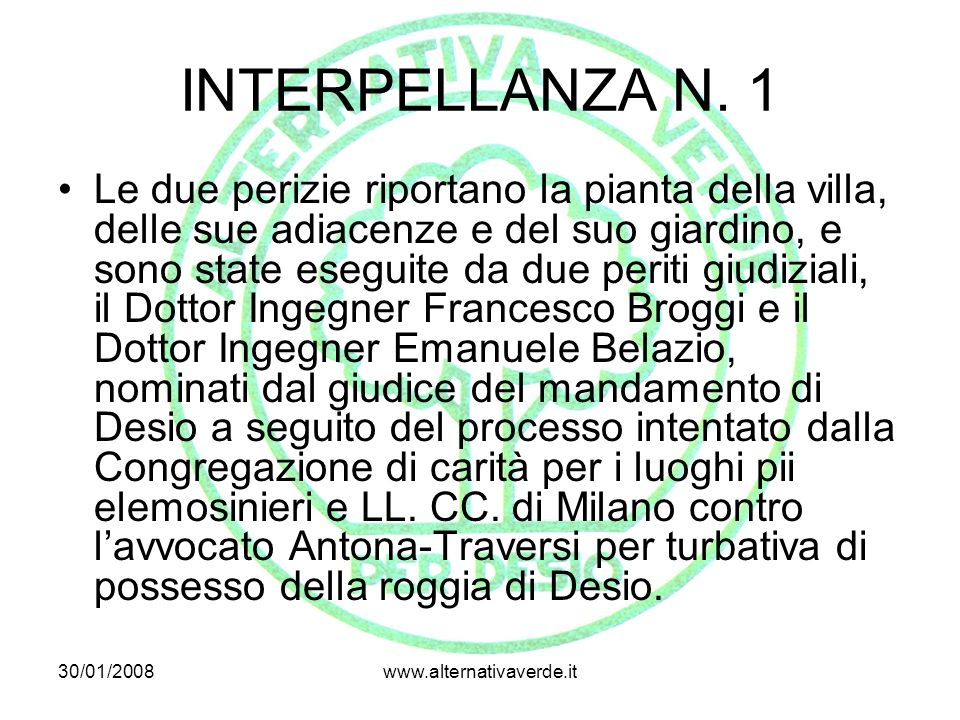 INTERPELLANZA N. 1