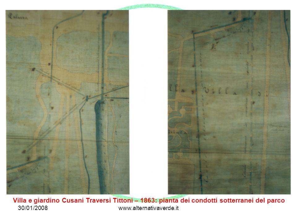 Villa e giardino Cusani Traversi Tittoni – 1863: pianta dei condotti sotterranei del parco