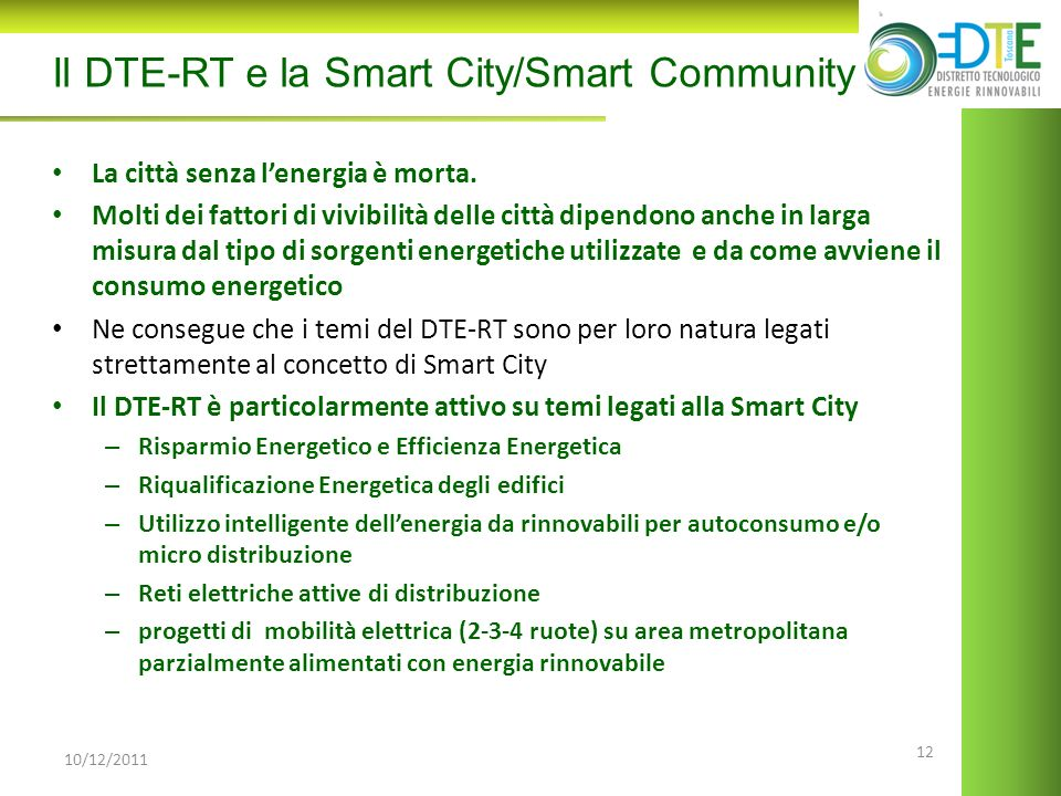 Il DTE-RT e la Smart City/Smart Community