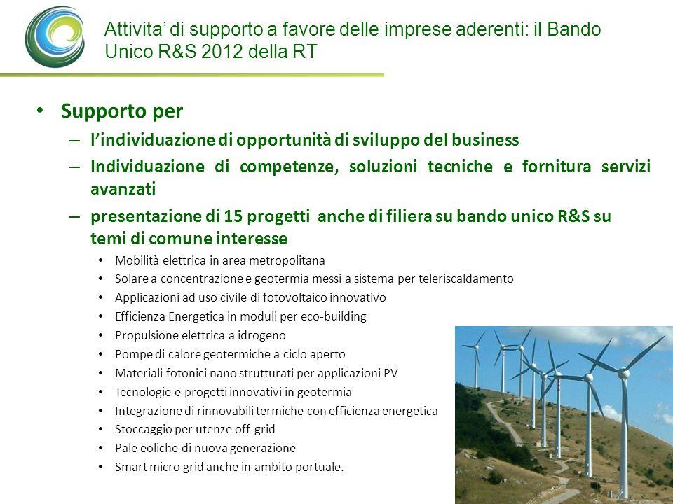 Attivita' di supporto a favore delle imprese aderenti: il Bando Unico R&S 2012 della RT